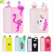 KL-Boutiques 3D Unicorn Cartoon Case sFor Samsung Galaxy S8 G9500 Fundas Fruits Cactus Flamingo Toys Soft Silicon Phone Cover