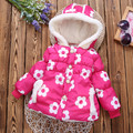 2016 New Winter children Jackets & Coats Girls Floral Hooded Baby Girl jacket Warm Outerwear Cute Fashion Kids coat