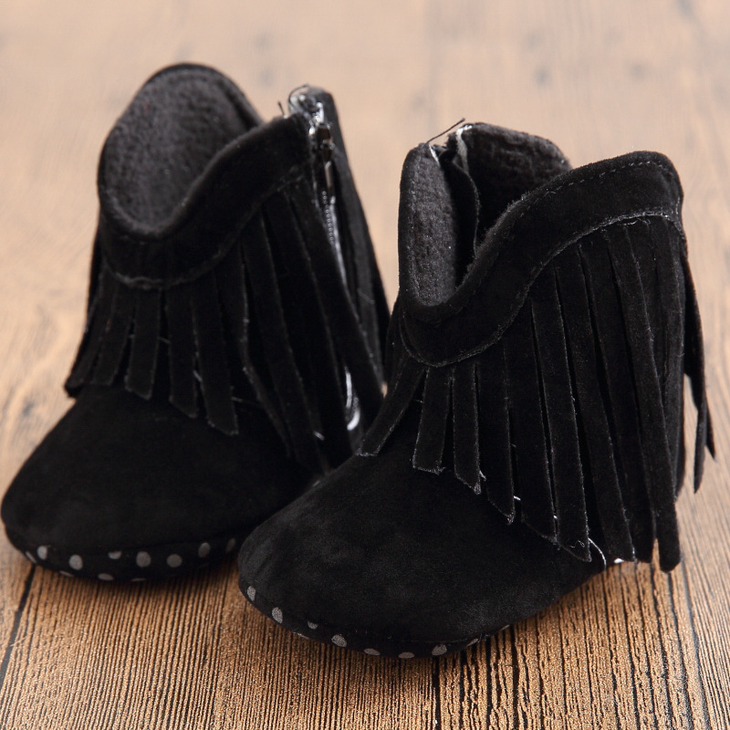 Aliexpress.com : Buy Fashion Baby Boots Girl Boy Kids Solid Fringe ...