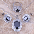 Black Created Sapphire White CZ Silver Jewelry Sets Earrings Pendant Ring For Women Size 6 / 7 / 8 / 9 / 10 Free  S0086