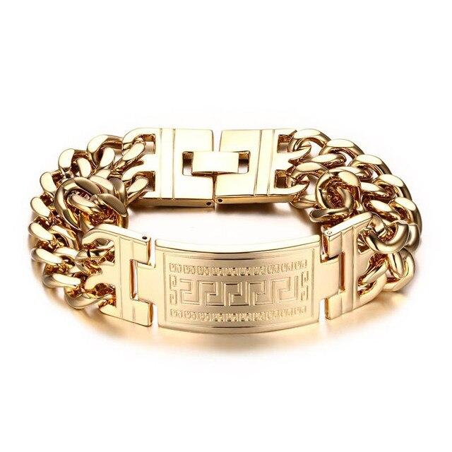 a25a6f7944ebca Mens Bracelets Greece Key ID Tag Bracelet Men Stainless Steel Double Cuba  Chain Bileklik Hiphop Fashion Jewelry Bold and Chunky