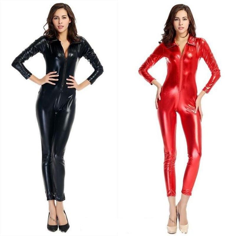 2017 Black Red Sexy Hen Party Clubwear Catsuit PVC Wetlook Catwoman  Bodysuit DS Costume Hip Hop Zipper Jumpsuit Fancy Dress 4438d84c3