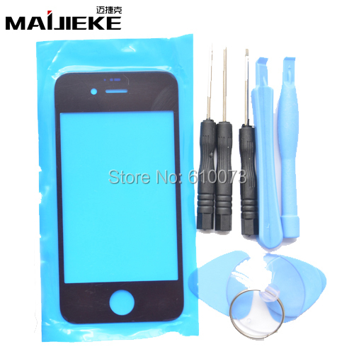 MAIJIEKE Front Outer Glass Lens Kits For IPhone 6 Plus 4S Front Cover Replacements For IPhone 6 5 5s 5c 4 Repair Parts+Tools