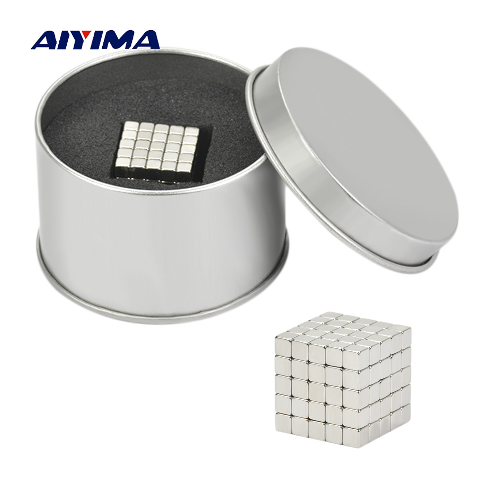 Aiyima Magnet Blocks 5mm 125Pcs Magic Strong NdFeB Buck Block Creative Neodymium Magnet Magnets Imanes 4 7 5mm neodymium nib magnet spheres with steel case silver 216 piece pack