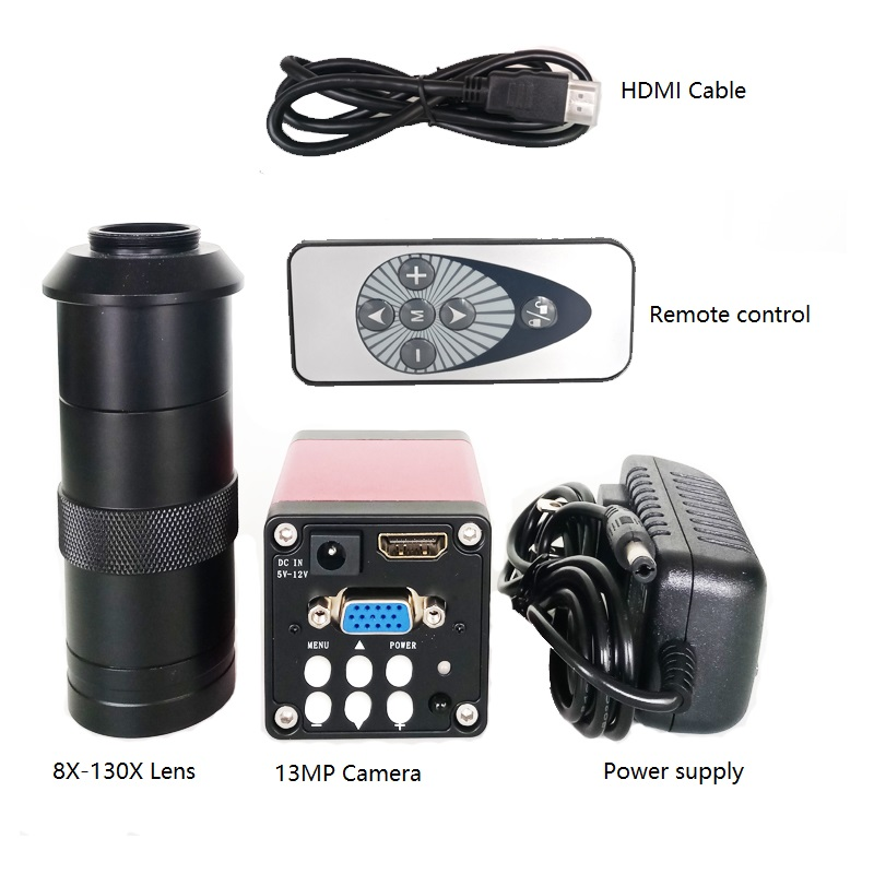 8X 130X magnification zoom C Mount lens Remote contorl 13MP 720P 60FPS HDMI VGA for industrial