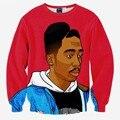 Hip Hop sweatshirt men 3d print rap singer Tupac 2pac fashion tops hoodies lovely clothes thin slim pullover