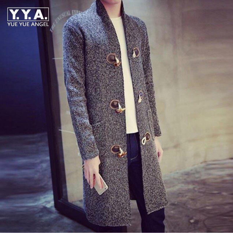 New Fashion Mens Hooded Knitting Sweater Top Brand Man Toggle Long Coat Overcoat High Quality Trench Outwear Plus Size 2XL