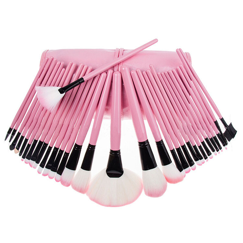 32Pcs Pouch Bag Case Superior Soft Cosmetic Makeup Brush Set Kit PINK niko black 21 23 26 ukulele bag silver edge nylon soprano concert tenor soft case gig bag 5mm thick sponge