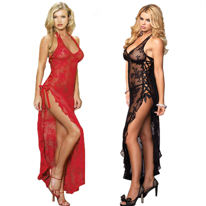 e8ef5b443942f Plus Size S M L XL 2XL 3XL 4XL 5XL 6XL Red Black Lace UP Lingerie Gown  Sleppwear