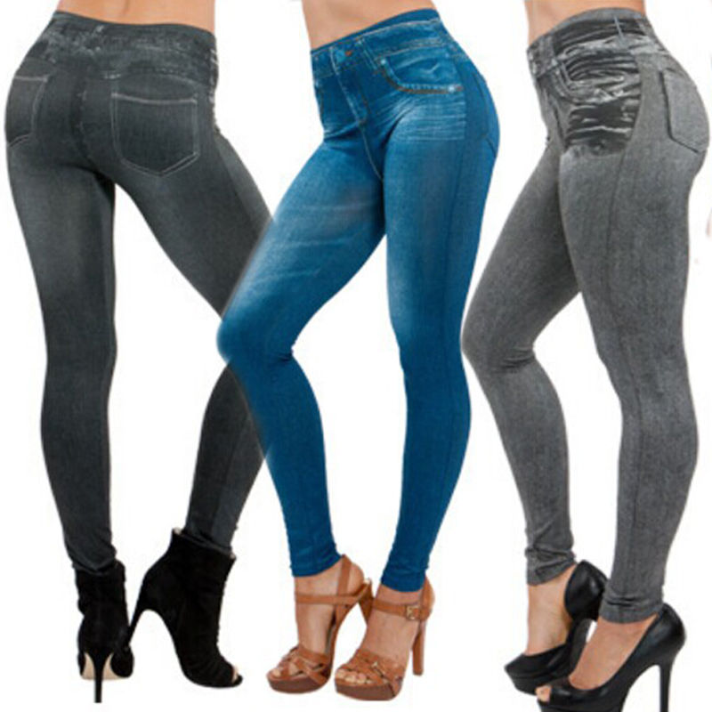 2017 Hot Selling Women's Slim Leggings Blue And Black Jean Girls Jeggings Denim Look Leggings