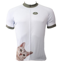 Free shipping Cats Pattern Men's White Polyester Breathable Short Sleeve Bicycle Apparel Size S 6XL