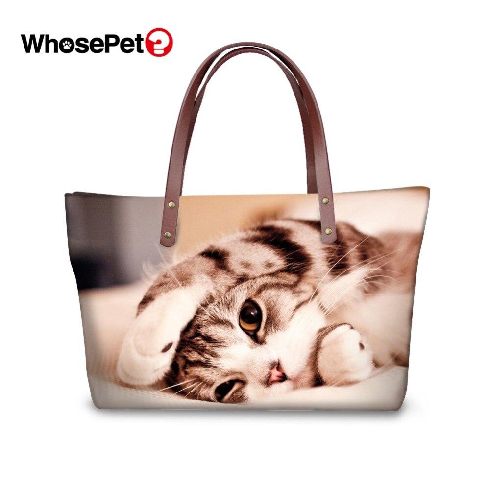 WHOSEPET Cool Cat Prints Women Handbags Top-handle Bag Large Capacity Animal Totes Fashion Ladies Shoulder Cute Bags