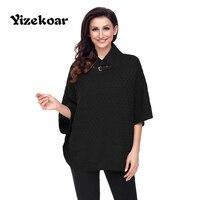 Yizekoar Fashion Warm High Neck Waffle Knit Poncho Half Sleeve Kimono Loose Casual Sweaters Women Autumn