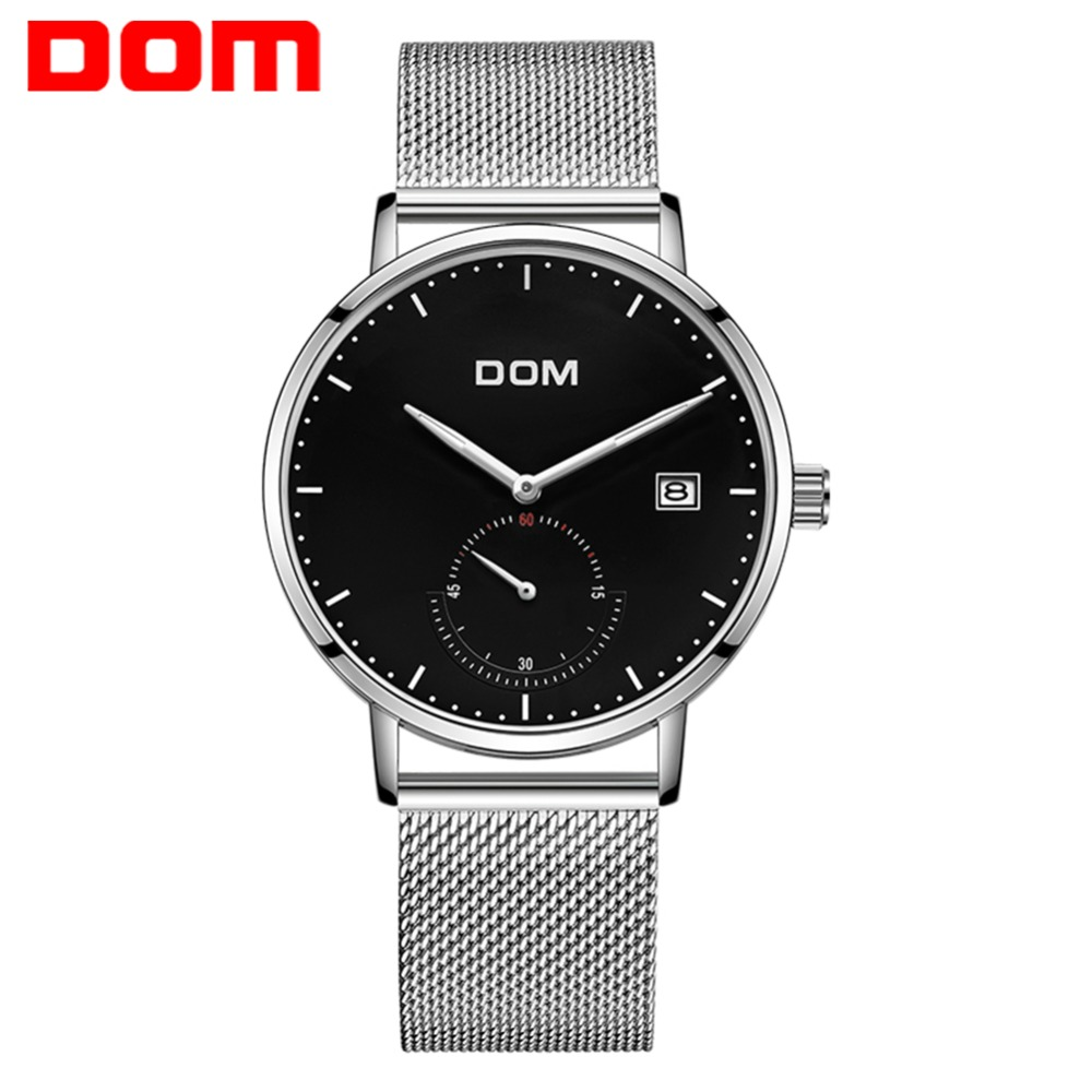 DOM Simple Mens Watches Top Brand Luxury Unique Fashion Casual Men Watch Quartz Male Dress Business Calendar Waterproof relogio цена и фото