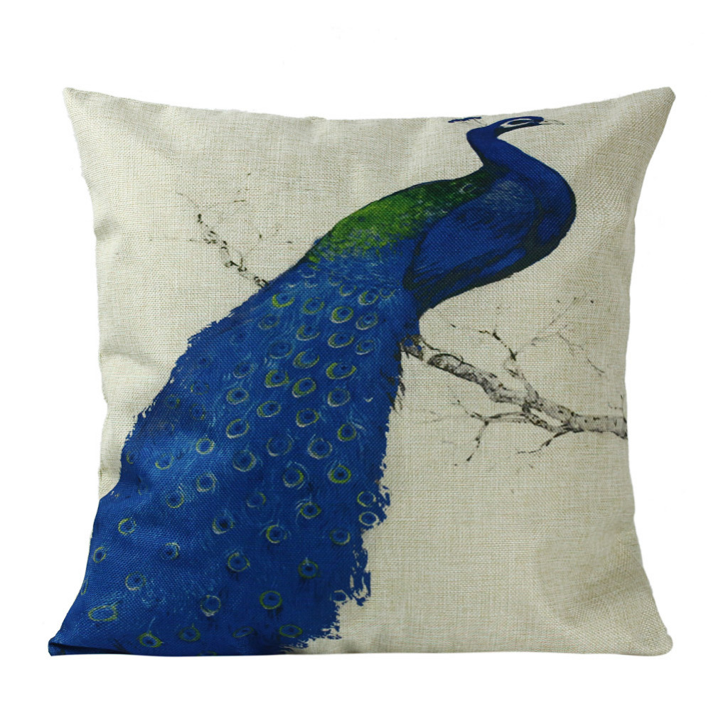 Bed chair pillow - Landscape Animal Cotton Linen Room Bed Chair Cushion Case Dragonfly Cushion Case Blue Green Dragonfly Cushion