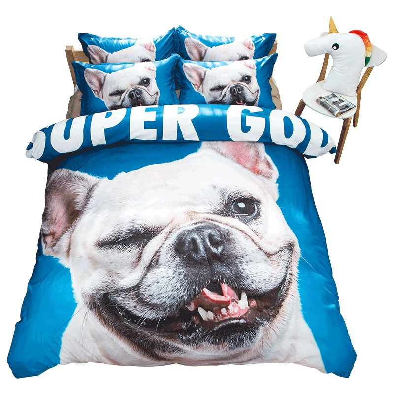 SINGLE French Bull Dog 3D Duvet Cover With Pillow Case Bedding Set