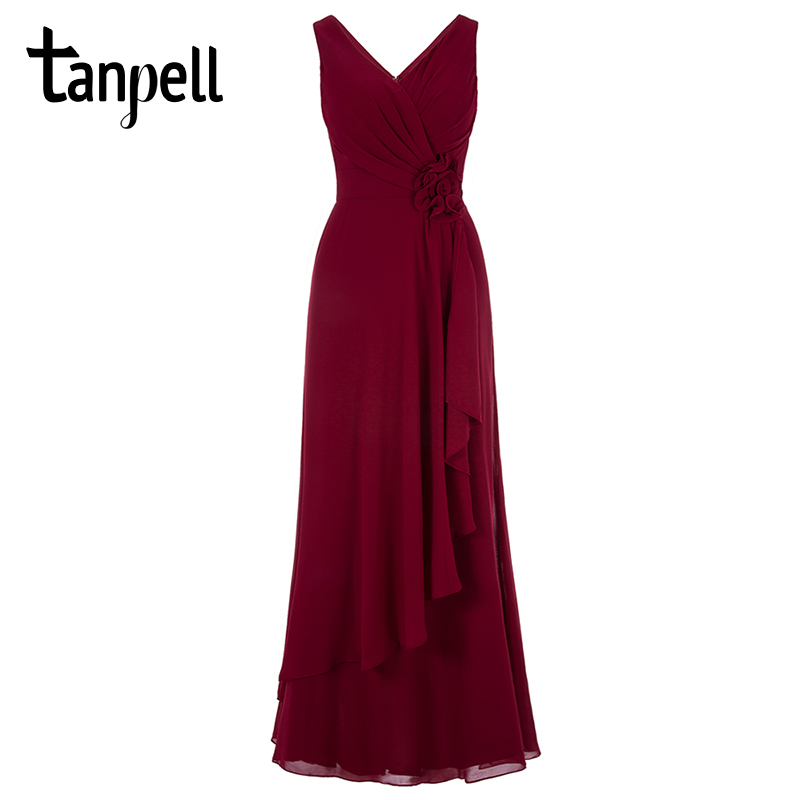 Tanpell v neck   evening     dress   burgundy floor length sleeveless a line gown women flowers pleats formal party long   evening     dresses