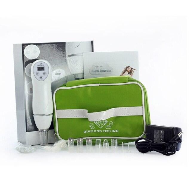 Mini máquina peladora de piel de dermoabrasión de diamante, cabeza negra al vacío/acné facial eliminar el equipo de limpieza facial con 6 puntas