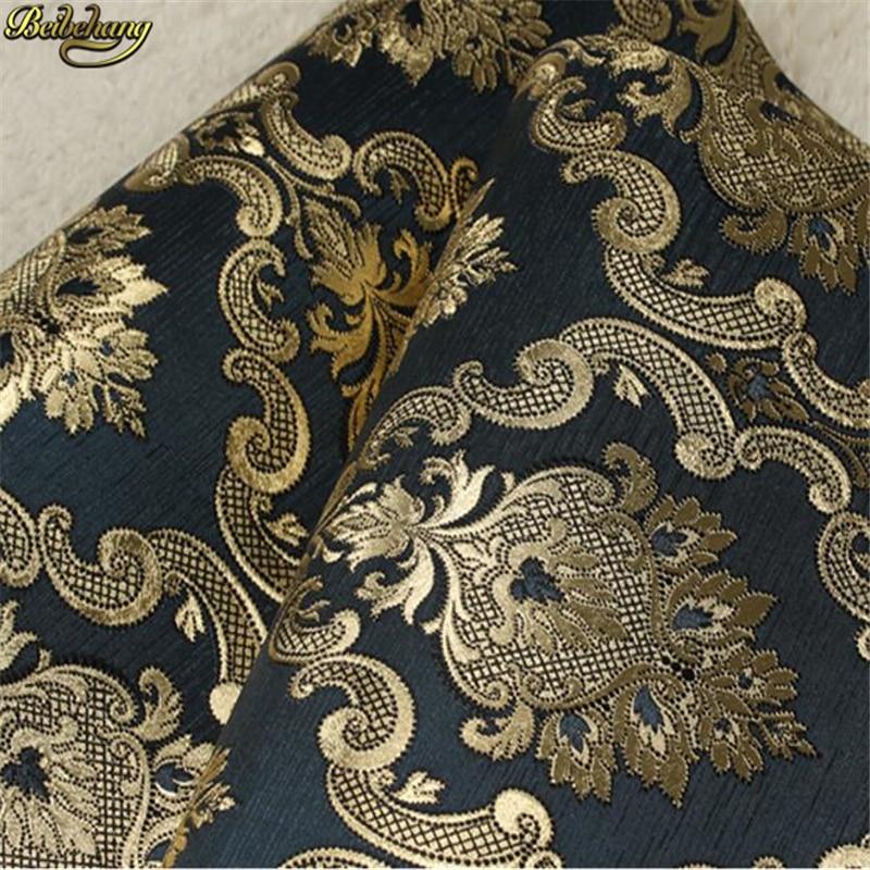Beibehang papier peint pour chambre, fleur en or noir, feuille d'or damas, style européen, papier peint pour chambre, KTV bar, papier peint