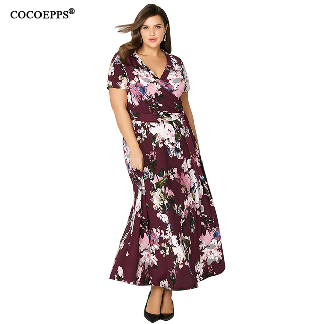 5XL 6XL Maxi Women Dress big size 2018 Summer plus size Long Dress Casual  Vintage loose Floral Print Vacation Boho Girl vestidos-in Dresses from  Women s ... 20f2ee49d44f