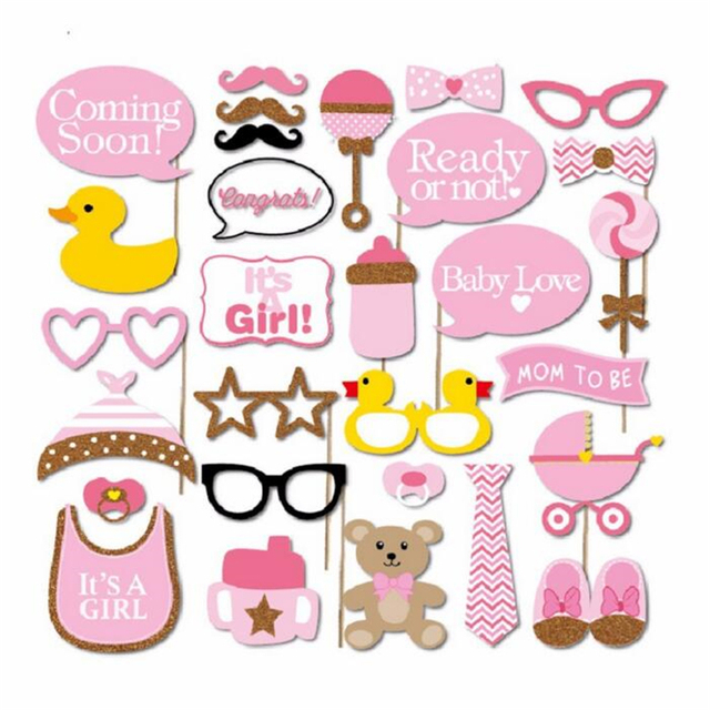 30PcsSet Baby Shower Photo Booth Props Boy Girl Baby 1st Birthday
