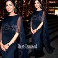 Yousef 30D Gasa vaina Con Cuentas Azules Marinos de Maxi 2015 Vestidos de Festa Vestidos de Noche Madre Formal de Los Vestidos Vestidos de La Celebridad