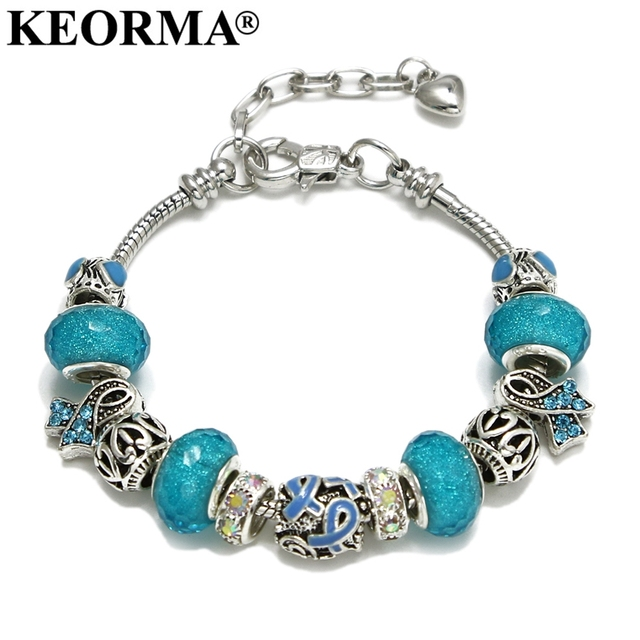KEORMA Pink Ribbon Charm Bracelet & Bangle for Women European Murano Glass Bead Adjustable Heart Chain Bracelet Fashion Jewelry 4