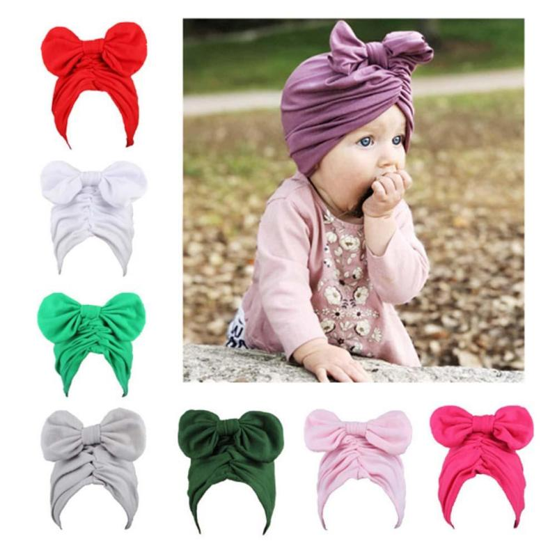 Soft Baby hat Girls Boys Infant Toddler Cotton Bow Lovely Turban Knot Cap Beanie Hat for baby gifts 2017 W2