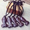 Старинные Деревянные Рыбы ожерелье Оригинальный Дизайн Китайский стиль Национальный Пасьянс Завесы Кулон Ювелирные Изделия для женщин