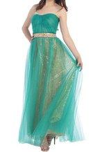 Grün Tulle Schulterfrei Lange Abendkleid Bodenlangen A-linie Robe De Soiree Longue Gold Pailletten Günstige Neuesten Abendkleid Designs