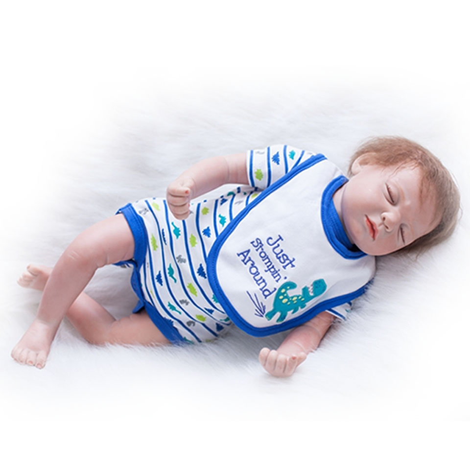 Rooted Mohair Realistic Reborn Babies 20'' Looks Like Asleep Baby Dolls 50cm Silicone Touch Soft Ethnic Dolls Kits Birthday Gift scream street looks like trouble