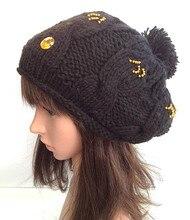 100% ручной вязки шапочка hat новый ringstone алмаз чернокожих женщин зима теплая шапка cap