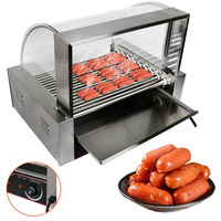 Ship From USA Commercial 24 Hotdog Hot Dog 9 Roller Grill Cooker Machine W Cover CE