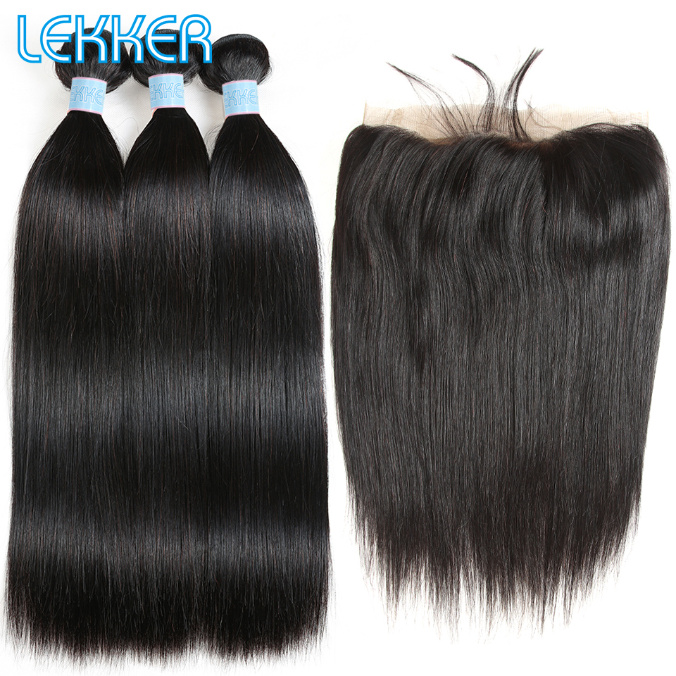 Lekker Brazilian Straight 3 4 Hair Bundles With 360 Lace Frontal Closures For Black Women Frontal And Bundles Can Be Made Wigs