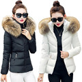 2016 Women's Winter Jacket with Fake Fur Collar Warm Cotton Filler Slim Hooded Down Jacket Clothes ow0232