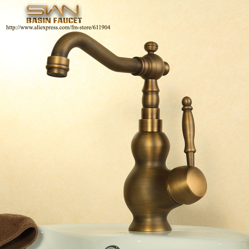 Antique Brass Single Handle Bathroom Faucet Lavatory Vessel Sink Basin faucet Mixer Tap Swivel Spout Cold Hot Water tap 2110961L free shipping chrome brass bathroom faucet lavatory vessel sink basin faucet mixer taps cold hot water tap swivel spout 2231361