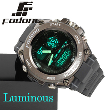 Top Brand Fodong Cool Black & Brown Dive Diving Digital LCD Watches Men's Swimming Water Proof Wristwatch with Silicone Band