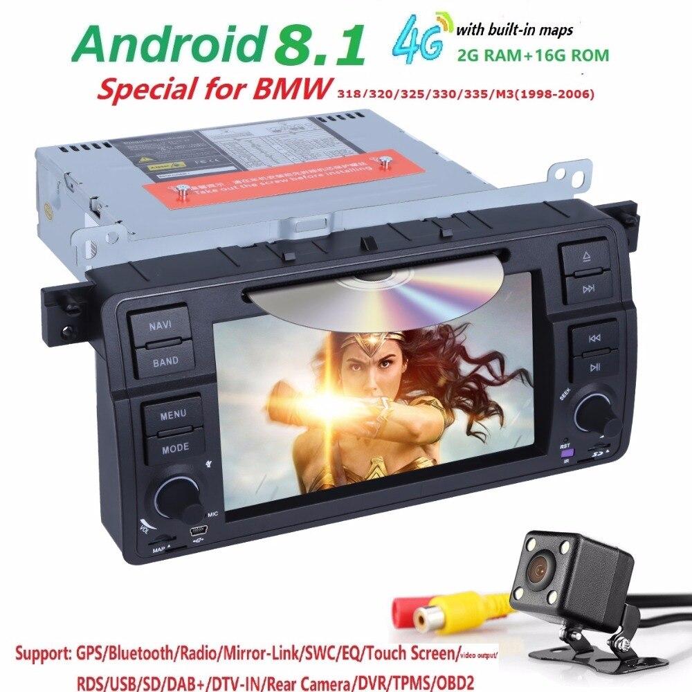 Free shipping Quad Core Car DVD Player Stereo Android 8.1 GPS Navigation Bluetooth Free Camera For BMW E46 SWC DVR RDS DVBT DAB+Free shipping Quad Core Car DVD Player Stereo Android 8.1 GPS Navigation Bluetooth Free Camera For BMW E46 SWC DVR RDS DVBT DAB+