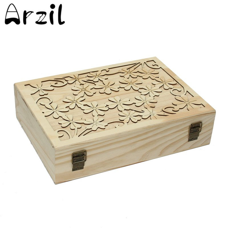 Wooden Laser Cut Container Jewelry Boxes 70 Slots Essential Oils Box Storage Box Case Home Storage Organization