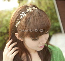 New Popular Sweet Bohemian Style Women Big Plated Leaves Metal Chain Elastic Floral Headband Fashion Hairband Jewelry Headwear