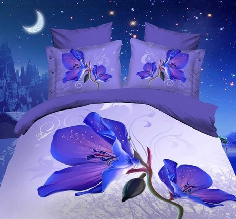 052159 4pcs/set 3D stereoscopic reactive printing pure cotton warm and comfortable bedding set