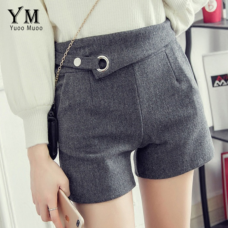 YuooMuoo Hot 2018 Casual Autumn Winter Women   Shorts   Black Tweed High Waist   Shorts   Feminino Plus Size Ladies   Shorts   Street Style