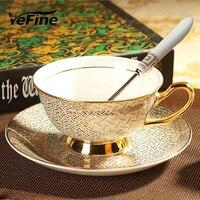 YeFine Céramique Royal Style En Céramique Noir Thé Tasse Ensemble Européen poterie Tasses À Café Fait De Haute Qualité Os Chine Tasses soucoupes