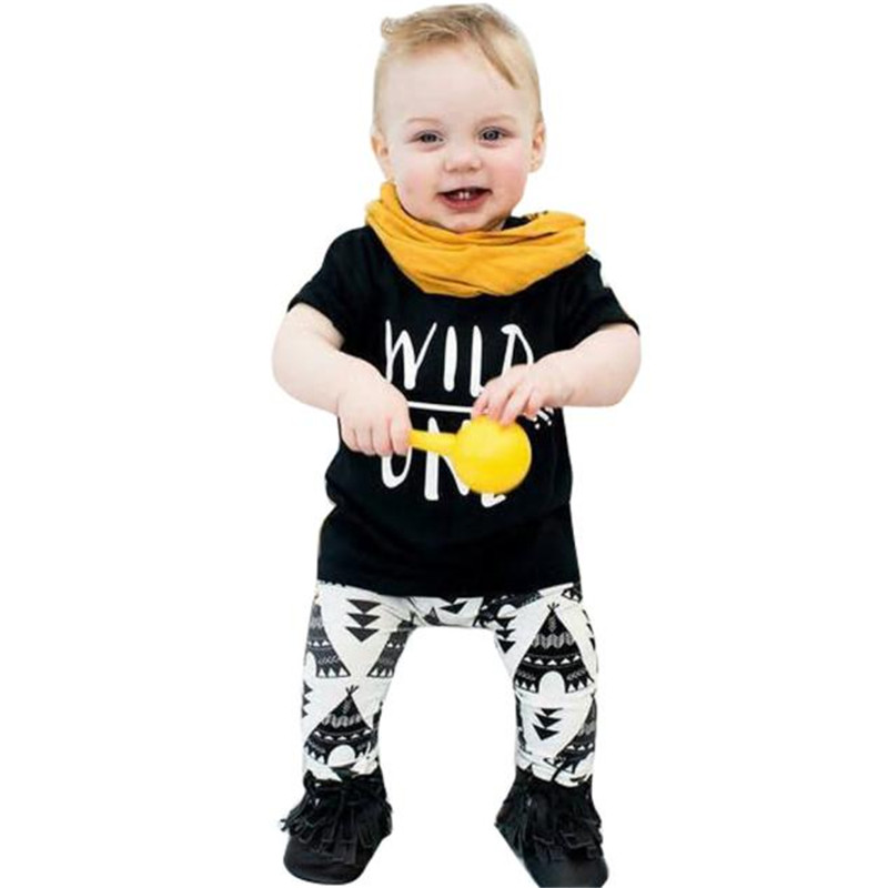 2017 Baby Set Letter Print T-Shirt +Geometric Pattern Pants Boys Clothing Suit Wild One BFOF boys letter print color block sweatshirt