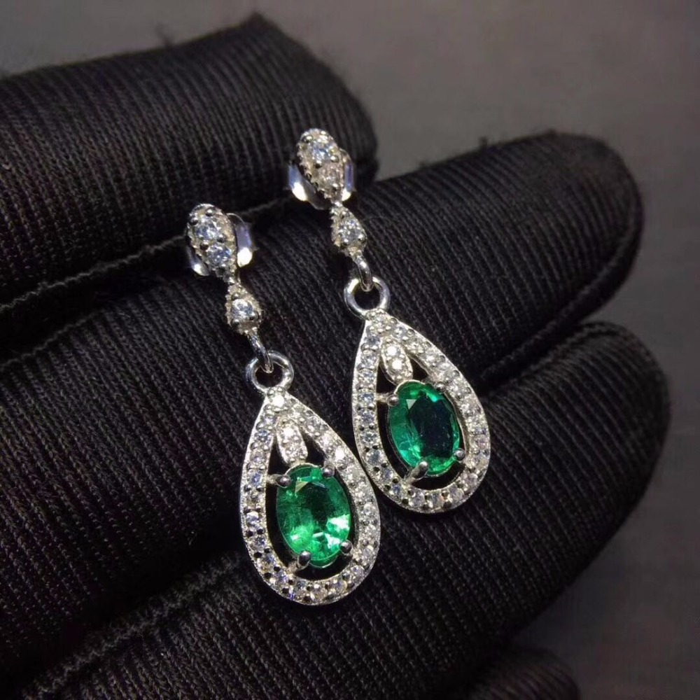 Jewelry Luxury Pear Created Green Emerald Earrings Solid 925 Sterling Silver Vintage Jewelry