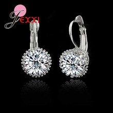 JEXXI High Guaranteed!Real 925 Sterling Sliver Fashion Jewelry Shiny 2 Carat CZ Crystal Cubic Zirconia Woman Dangle Earrings(China)