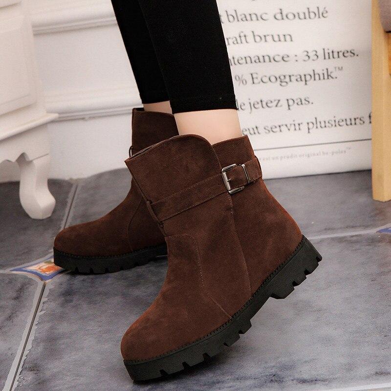 Women Soft Snow Boots Thicken Fur Scrub Mid Calf Shoes Rhinestone Buckle Flats
