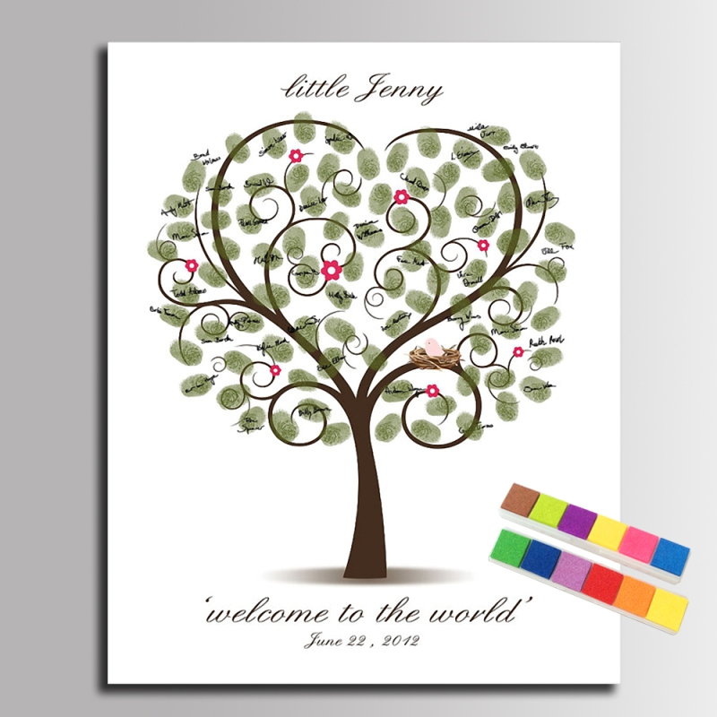 diy fingerprint signature heart tree canvas painting baby birds guest book for baby shower