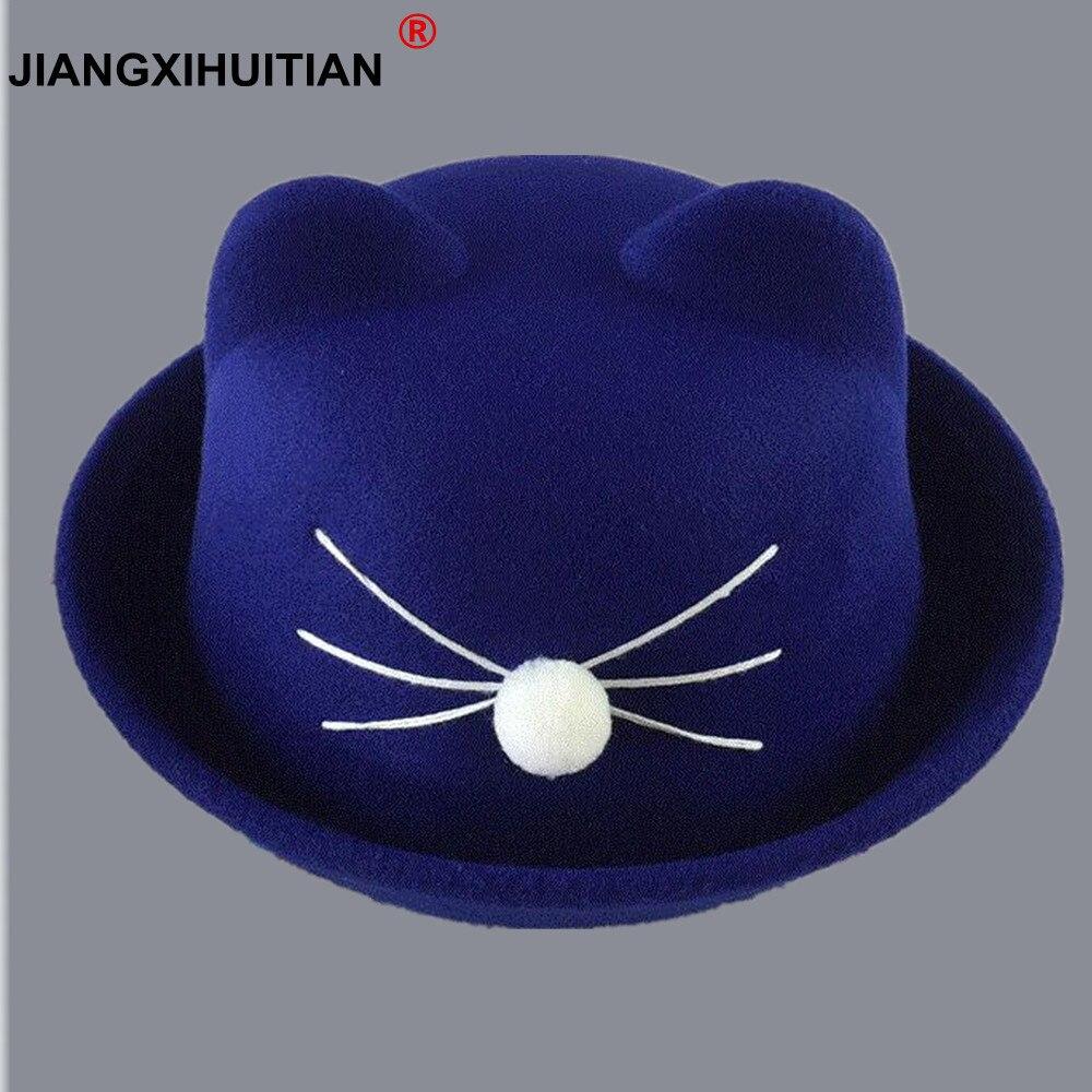 1-7 Jahr Nette Katze Ohren Top Kappe Junge Mädchen Mode Vintage Jazz Bowler Fedora Hut Frühling Herbst Zylinder Wolle Caps Motorhaube