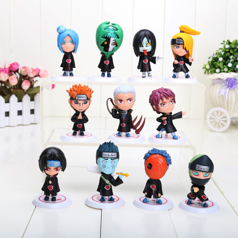 11 PCS Set Anime Naruto Shippuden Akatsuki Member Figures Keychains Toy 8cm Uchiha Itachi Madara Sasuke Hidan Pvc Action Figure rs 4 in 1 4 in 1 toner cartridge chip resetter for samsung free shipping by dhl